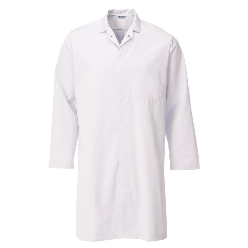alsico polycotton lab coat without external pockets industrial wash