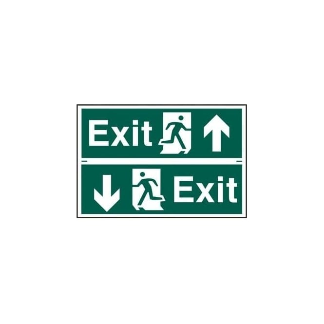 Complete Safety Supplies Exit Sign with Running Man Right/Left With up/down Arrow (2 Per Sheet)