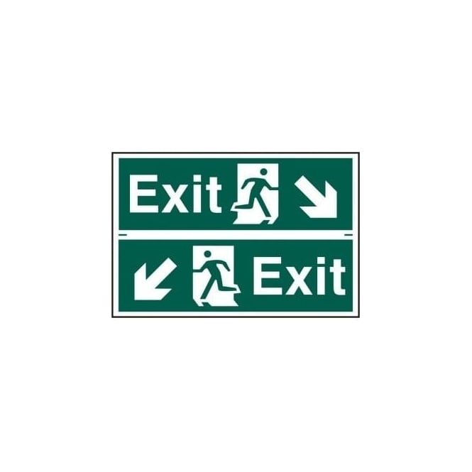 Complete Safety Supplies Exit Sign with Running Man Right/Left With down Left/Right Arrow (2 Per Sheet) 300 x 100