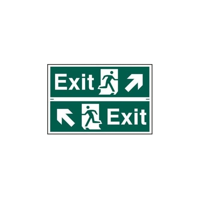 Complete Safety Supplies Exit Sign with Running Man Up Left/Right Arrow (2 Per Sheet) 300 x 100