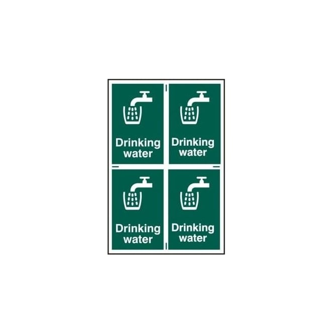 Complete Safety Supplies Drinking Water Sign 4 per sheet