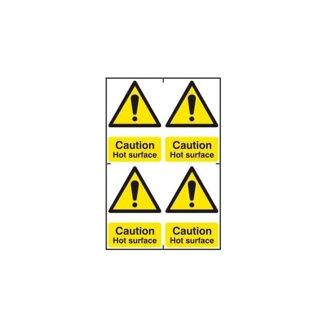 Complete Safety Supplies Caution Hot Surface Sign - 4 per sheet