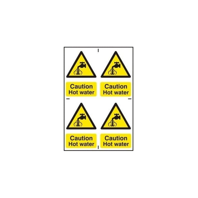 Complete Safety Supplies Caution Hot water Sign - 4 Per sheet