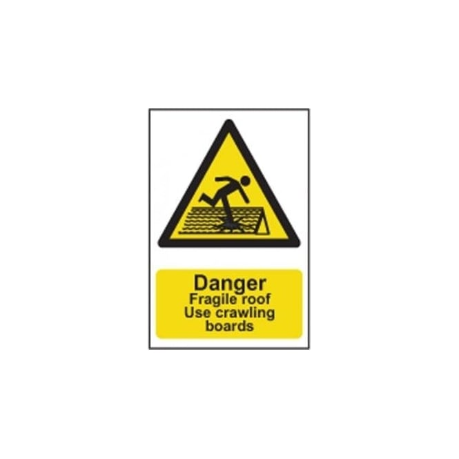 Complete Safety Supplies Danger Fragile roof Use Crawling boards Sign