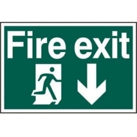 Fire Exit Sign with Running Man Right and Down Arrow