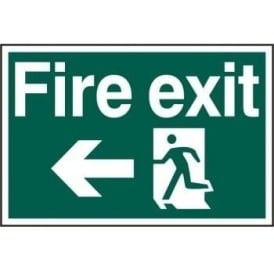 Fire Exit Sign with Running Man Left and Left Arrow