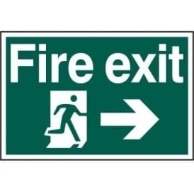 Fire Exit Sign with Running Man Right and Right Arrow