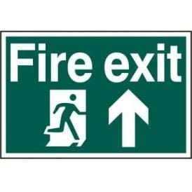 Fire Exit Sign with Running Man Right and Up Arrow