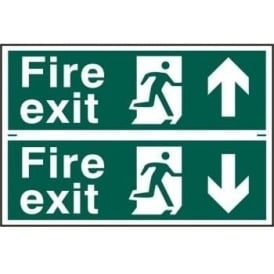 Fire Exit Sign with Running Man Right With up/down Arrow (2 Per Sheet)