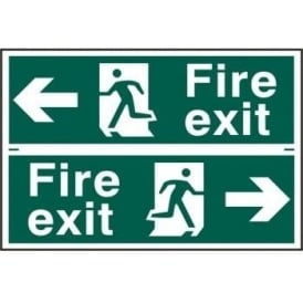 Fire Exit Sign with Running Man Right/Left With left/right Arrow (2 Per Sheet)