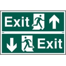 Exit Sign with Running Man Right/Left With up/down Arrow (2 Per Sheet)