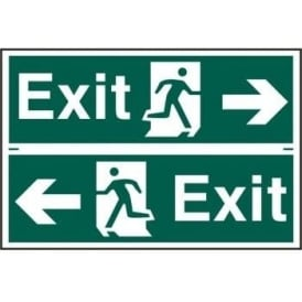 Exit Sign with Running Man Right/Left With Left/Right Arrow (2 Per Sheet)