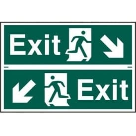 Exit Sign with Running Man Right/Left With down Left/Right Arrow (2 Per Sheet) 300 x 100
