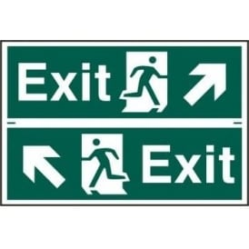 Exit Sign with Running Man Up Left/Right Arrow (2 Per Sheet) 300 x 100