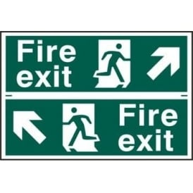 Fire Exit Sign with Running Man Right/Left With Up Left/Right Arrow (2 Per Sheet) 300 x 100