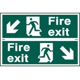 Fire Exit Sign with Running Man Right/Left With Down Left/Right Arrow (2 Per Sheet) 300 x 100