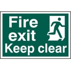 Fire Exit Keep Clear With Man Running Right