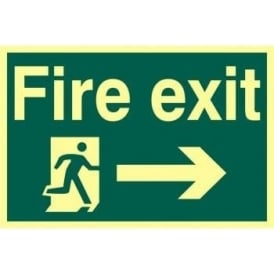 Photoluminescent Fire Exit Sign with Running Man with Right Arrow