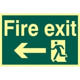 Photoluminescent Fire Exit Sign with Running Man with Left Arrow