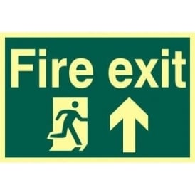 Photoluminescent Fire Exit Sign with Running Man with Up Arrow