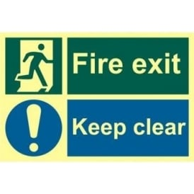 Photoluminescent Fire Exit Sign with Keep Clear and Running Man Right