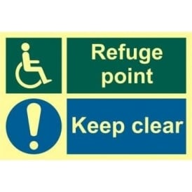Photoluminescent Disabled Refuge Point Keep Clear Sign