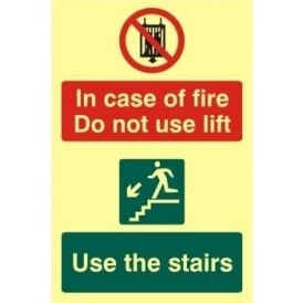 Photoluminescent In Case Of Fire Do Not Use Lift- Use Stairs Sign