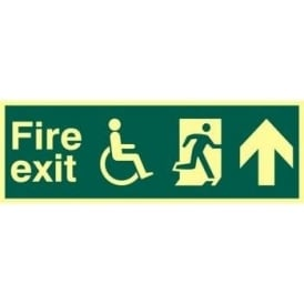 Photoluminescent Fire Exit suitable for use by Dissabled-Running Man Right-Arrow Up Sign