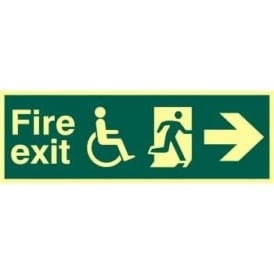 Photoluminescent Fire Exit suitable for use by Dissabled-Running Man Right-Arrow Right Sign