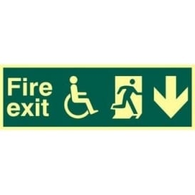 Photoluminescent Fire Exit suitable for use by Dissabled-Running Man Right-Arrow Down Sign