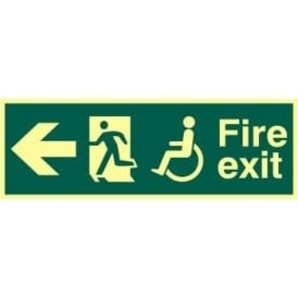 Photoluminescent Fire Exit suitable for use by Disabled-Running Man Right-Arrow Left Sign