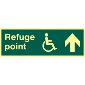 Photoluminescent Disabled Refuge Point- Arrow Up Sign