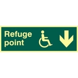 Photoluminescent Disabled Refuge Point - Arrow Right Sign