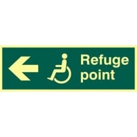 Photoluminescent Disabled Refuge Point- Arrow Left Sign