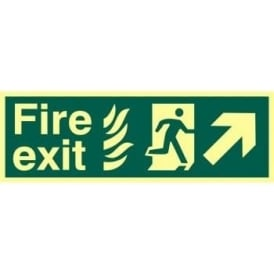 Photoluminescent Fire Exit with Man Running from Flames with Arrow Up/Right