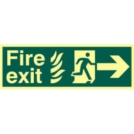 Photoluminescent Fire Exit with Man Running from Flames with Arrow Right Sign
