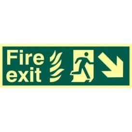 Photoluminescent Fire Exit with Man Running from Flames with Arrow Down/Right Sign