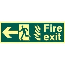 Photoluminescent Fire Exit with Man Running from Flames with Arrow Left Sign