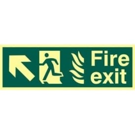 Photoluminescent Fire Exit with Man Running from Flames with Arrow Up/Left Sign