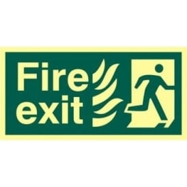 Photoluminescent Fire Exit with Man Running Right from Flames Sign