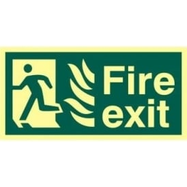 Photoluminescent Fire Exit with Man Running Left from Flames Sign