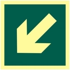 Photoluminescent Arrow Down/Left Sign