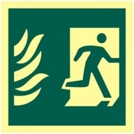 Photoluminescent Man Running from Flames Right Sign