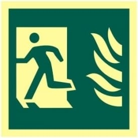 Photoluminescent Man Running from Flames Left Sign