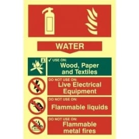 Photoluminescent Water Fire Extinguisher Sign