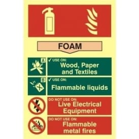 Photoluminescent Foam Fire Extinguisher Sign
