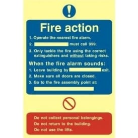 Photoluminescent Fire Action Plan Sign