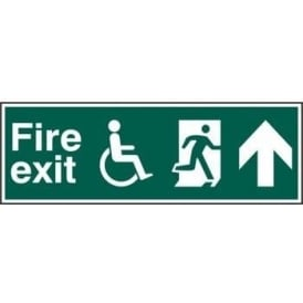 Fire Exit Sign suitable for Disabled with Man Running Right and Arrow Up