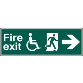 Fire Exit Sign suitable for disabled with Man Running Right and Arrow Right
