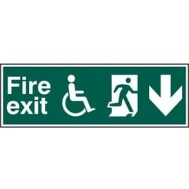 Fire Exit Sign suitable for disabled with Man Running Right and Arrow Down